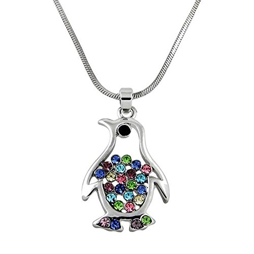 DianaL-Boutique-Silver-Tone-Crystal-Penguin-Pendant-Necklace-Multicolor-Crystals-Gift-Boxed-Fashion-Jewelry