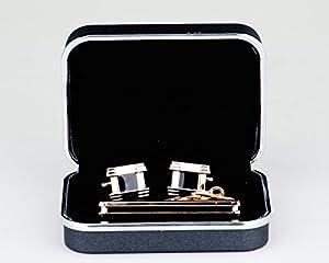 Lodestar Golden Nebula boutons de manchette classiques et pince à cravate élégante, ensemble en boîte-cadeau: Boxer-Style DE (B-07)