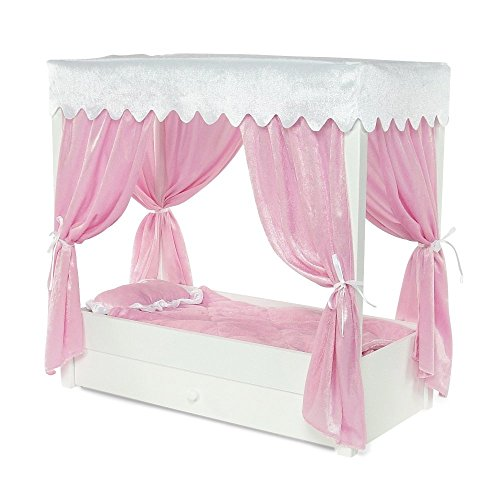 For American Girl Doll Canopy Bed & Trundle Storage - 18