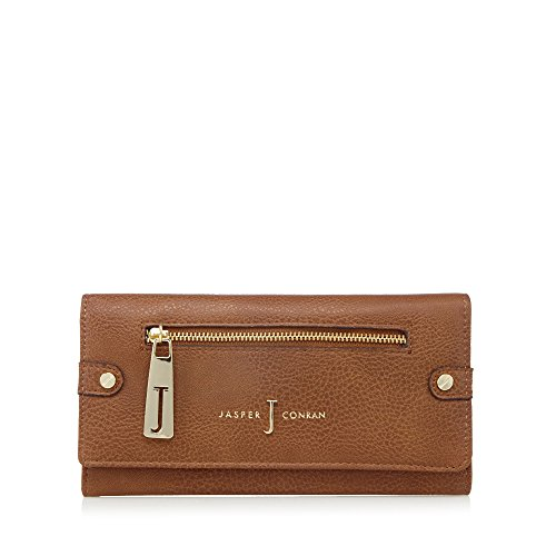J By Jasper Conran Womens Designer Tan Zip Flapover Purse
