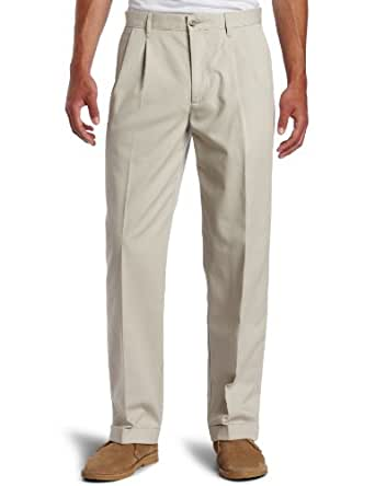 Dockers Men's Big-Tall Stain Defender Pleated Cuffed Pant, Cloud, 42x30