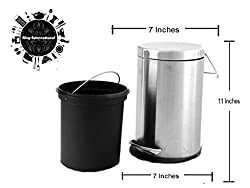King International Stainless Steel Plain Pedal Dustbin with Plastic Bucket 7x11 (5 litre)