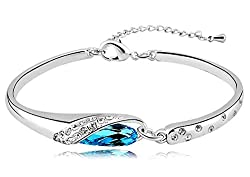 Sorellaz Rhodium Plated Blue Crystal Bracelet for Women