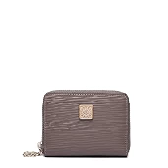 Bolide Series Womens Leather Mini Wallet ID Credit Cards Cash Coin Holder Case Organizer Purse Grey