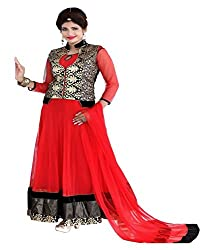Shubh Women's Georgette Semi Stitched Dress Material (Shubh_171_Red_Free Size)