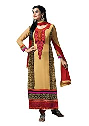 Idha Beige Semi-Stitched Printed Salwar Suit For Women