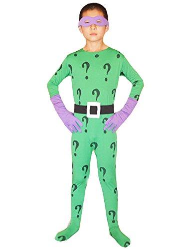 [Boys Batman Cosplay Halloween Kids Riddler Costume Lycra Bodysuit (Small, Green)] (Riddler Costume Amazon)