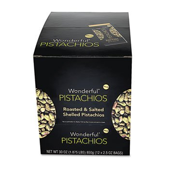 Wonderful Shelled Pistachios, Roasted & Salted, 2.5 oz. Pack, 12/Box by PAM (Catalog Category: Office Maintenance, Janitorial & Lunchroom / Food & Beverage)