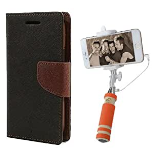 Aart Fancy Diary Card Wallet Flip Case Back Cover For Apple I phone 5 - (Blackbrown) + Mini Aux Wired Fashionable Selfie Stick Compatible for all Mobiles Phones By Aart Store