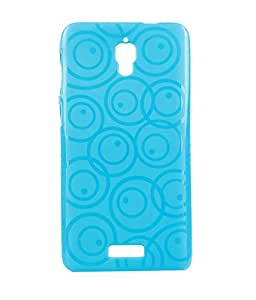 Exclusive Rubberised Back Case Cover For Lenovo S660 - Sky Blue Circular Design