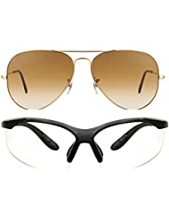 Unisex Uv Protected Combo Pack Of Aviator Sunglasses And Clear Night Vision Sunglasses ( Golden Shd Brown - Clear...