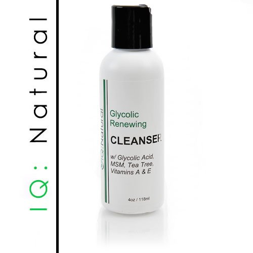 IQ Natural Ultra Glycolic Renewing Facial Astringent Cleanser (Glycolic Acid,MSM,Tea Tree,Vit A&E)