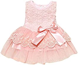 Baby Girls Kids Party Lace Flower Bow Bowknot Dress Skirts 0-3y