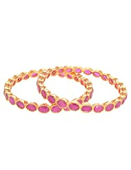 Creation Jewellery Gold Rhodium Plated Gold Plated Bangle Set For Women