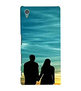 Printvisa Vector Pic Of A Romantic Couple At Sunset Back Case Cover for Sony Xperia Z5::Sony Xperia Z5 Dual