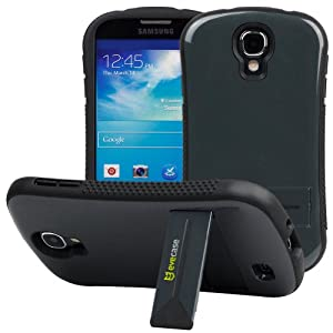 Evecase CurveShell Glossy Hard Shell Bumper Case with Kick-Stand for Samsung Galaxy S4, S 4 IV, GT-I9500 - Slate Gray (AT&T, Verizon, Sprint, T-Mobile and All Versions Compatible)