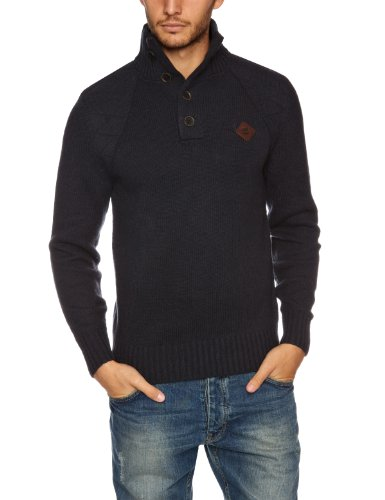 Timberland Wool Half Button Men's Jumper Dark Navy Large