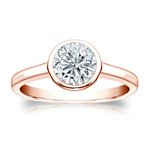 Igi Certified 14K Rose Gold Round-Cut Diamond Bezel Ring (1 Cttw, G-H Color, Si1-Si2 Clarity)