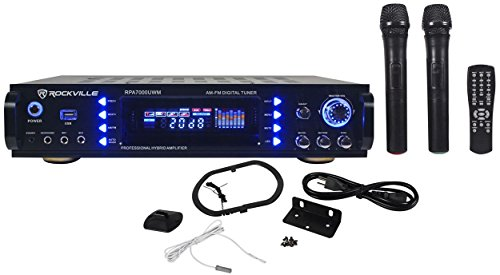 Rockville RPA7000UWM 1000w 4 Chan Pro/Karaoke Amplifier/Mixer w/(2) VHF Mics+USB (Mic Mixer Amplifier compare prices)