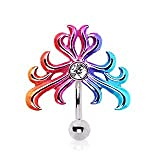 Rainbow Top Down Reverse Belly Navel Ring Bar with a Unique Tribal Design that features a 2mm Clear CZ.
