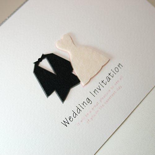 結婚式 招待状 《タキシード&ドレス》 ペーパーアイテム 手作り キット 10枚セット 「温もり感あるフエルト素材」