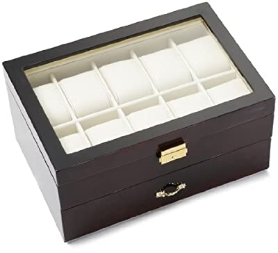 Diplomat Black Wood 10 Watch and Pen Storage Chest