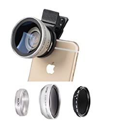 Zomei iPhone Lens 3 in 1 Cell Phone Camera Lens Kit 140 Degree Wide Angle Lens + 10X Macro Lens + Fader ND2-400 Filter with 37mm Clip for iPhone Samsung Android Smartphones(Silver)