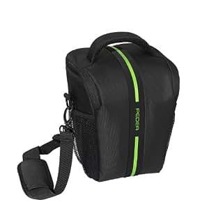 PEDEA Tasche Toploader für Nikon D5100, D750 / Canon EOS 1200D / Sony ILCA Alpha 77 II, DSC-RX10 (Platz für Body und Objektiv, inkl. Tragegurt und 5 Zubehörfächern) mit Displayschutzfolie