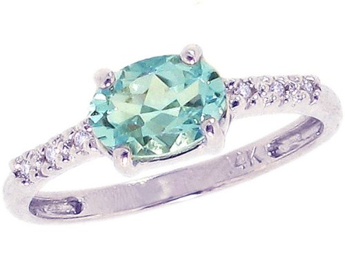 14K White Gold Sweet Oval Gemstone and Diamond East-West Promise Ring-Sky Blue Topaz, size5.5