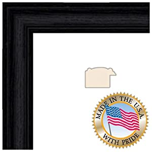 ArtToFrames 2WOM0066-59504-YBLK-4x10 4 by 10-Inch Picture Frame, 1.25-Inch Wide, Black Stain on Solid Red Oak