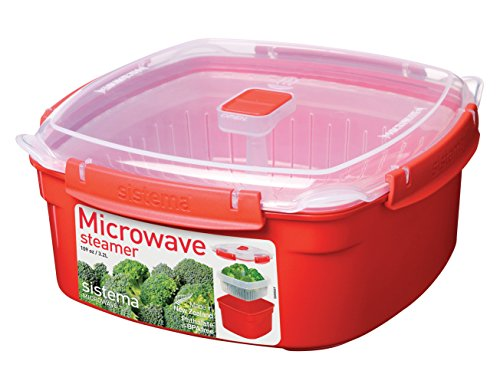 Sistema Microwave Cookware Steamer, Large, 108.2 Ounce/ 13.5 Cup, Red