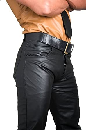 Amazon.com: Whip It Leather's Men's 501 style Leather Jeans: Clothing