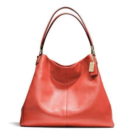 Coach Madison Leather Phoebe Shoulder Bag Vermillion Light Gold 24621