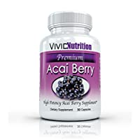 Vivid Nutrition Premium Acai - High Potency, Pure Acai Berry Supplement. The All-Natural Diet, Weight Loss, Colon Cleanse Formula (515mg) 30 Capsules