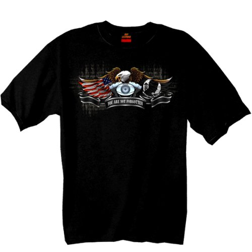 Hot Leathers Born Free Eagle POW Double Sided T-Shirt (Black, XX-Large)
