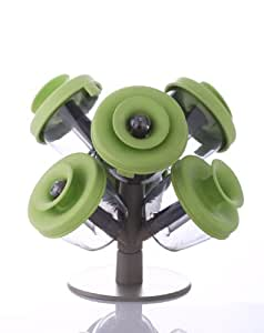 Spice Rack Vacu Vin PopSome Herbs and Spices with 2 Tree Stands, Set of 6 Spice Rack