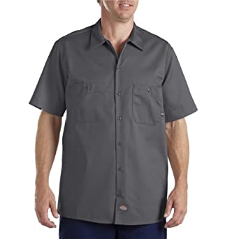 Dickies Occupational Workwear LS307CH Cotton Men's Short Sleeve Industrial Work Shirt, Charcoal