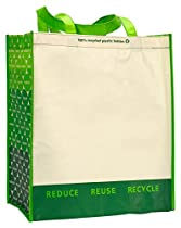 Gemline Laminated 100% Recycled Shopper - Sand/ Green