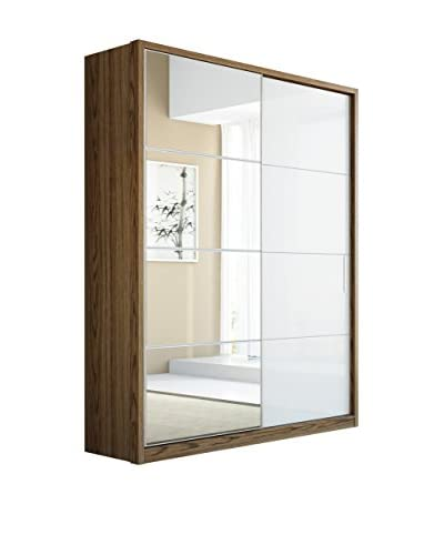 Manhattan Comfort Bellevue 4-Drawer/2-Door Wardrobe, White/Chocolate