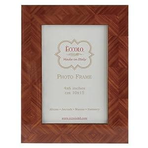 Eccolo Italian Wooden Picture Frame, Herringbone Parquet, Tan