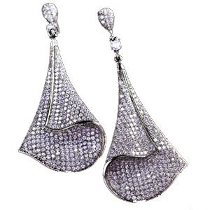2.00 Carat (ctw) 14k White Gold Round Diamond Ladies Dangling Drop Earrings
