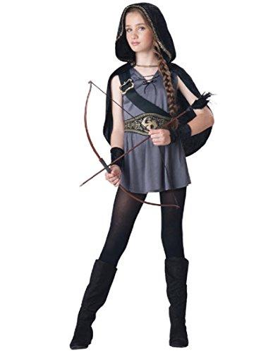 InCharacter Costumes Tween Kids Hooded Huntress, Grey/Black, L (12-14)