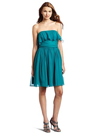HALSTON HERITAGE Women's Strapless Flare Dress, Teal, 0