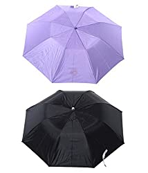 Jorss Unisex 2-Fold Umbrella - Black / Pruple