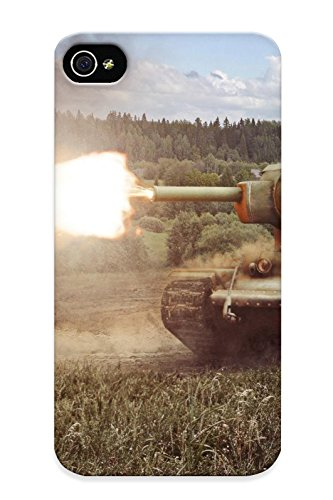 Top Quality Case Cover For Iphone 4/4S Case With Nice World Of Tanks Tank Kb2 Firing Grass Games Military Appearance