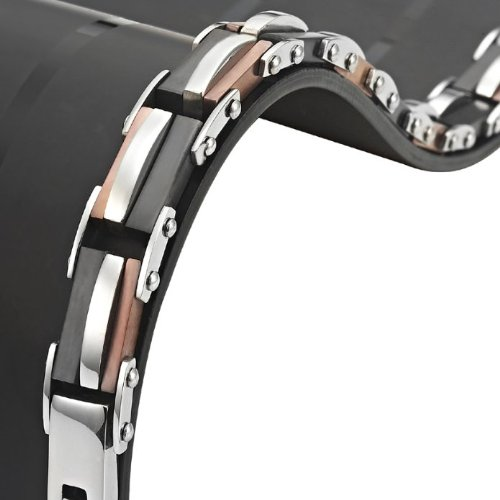 Unique Mens Stainless Steel Trophy Link Bracelet by R&B Jewelry (Silver, Black, Bronze)