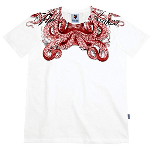 Sangsang St183 Sea Monster Graphic Tee Shirts Slim Fit (White, L) front-89577
