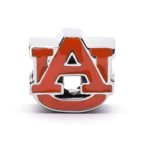Auburn Tigers AU Logo Bead Charm - ORANGE - Fits Pandora & Others - Lifetime Guarantee