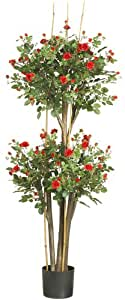 Nearly Natural 5238 Mini Rose Silk Tree, Red, 5-Feet