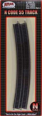 "N Code 55 Nickel Silver 20"" Radius Full Curve Track (6) Atlas Trains - 1"